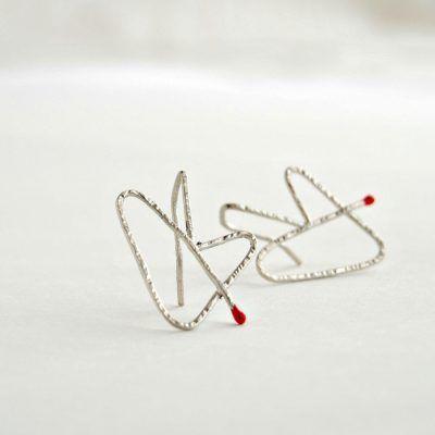 Pendientes-plata- corazon emparejado