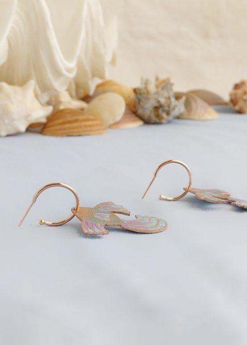 Pendintes pez Volador-criolla oro rosa-singularsisters