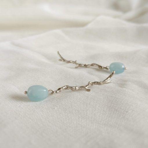 Pendientes de plata y aguamarina-joyas de singularsisters