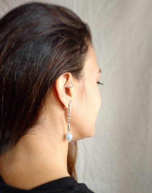 Pendientes de plata y aguamarina- joyas de singularsisters (1)